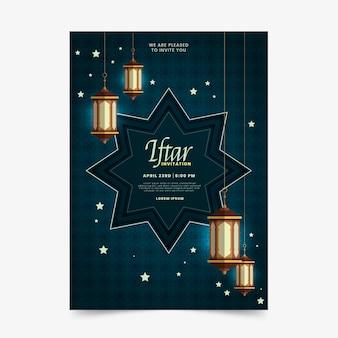 Zaproszenie iftar piękny projekt płaski