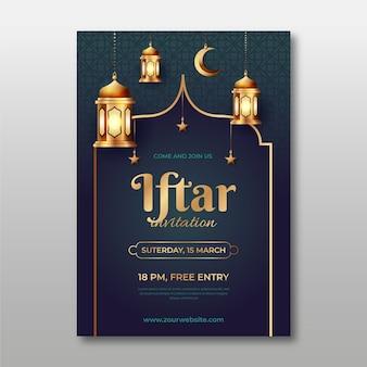 Zaproszenie iftar z realistycznym wizerunkiem