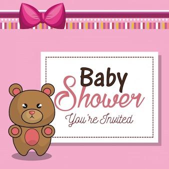 Zaproszenie karta baby shower różowy z niedźwiedziem