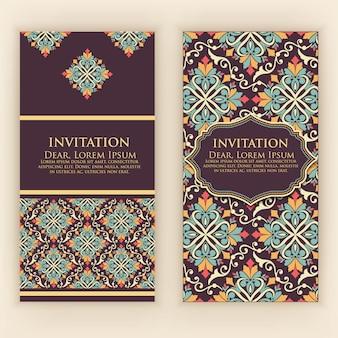 Zaproszenie, karty z etnicznymi arabeskowymi elementami. arabeskowy styl. eleganckie kwiatowe abstrakcyjne ozdoby. przednia i tylna strona karty. wizytówki.