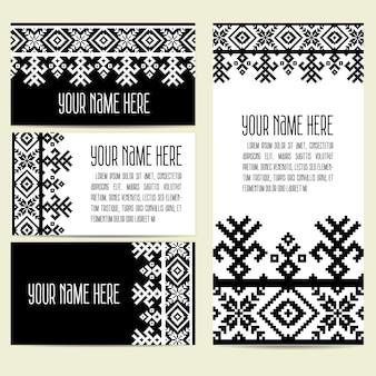 Zaproszenie, karty z etnicznymi elementami ozdobnymi