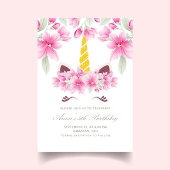 Zaproszenie kwiatowy dla dzieci urodziny z cute jednorożca
