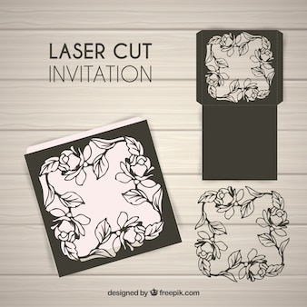 Zaproszenie kwiatowy wycięcie laserowe