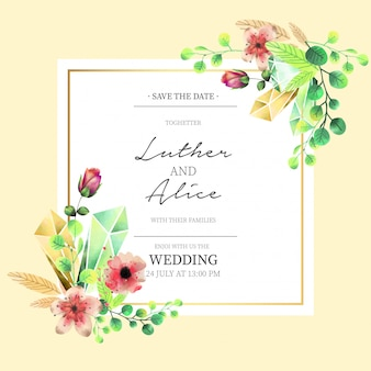 Zaproszenie na ślub kwiatowy w stylu przypominającym akwarele