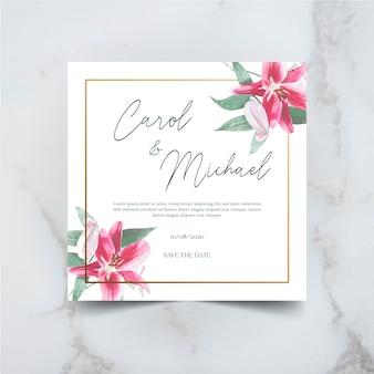 Zaproszenie na ślub kwiatowy z geometryczne ramki złota, zioła i pola kwiatów w stylu przypominającym akwarele.
