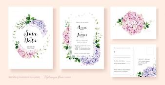 Zaproszenie na ślub kwiaty hortensji