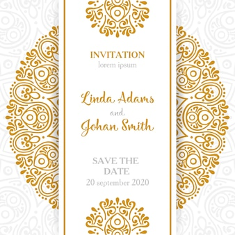 Zaproszenie na ślub Vintage ozdobne elementy z mandali