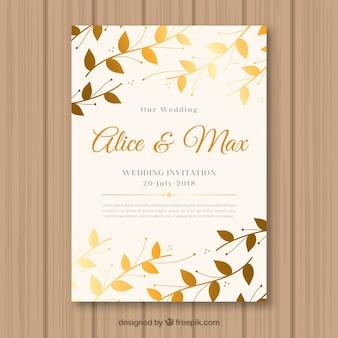 Zaproszenie na ślub z złotymi liśćmi