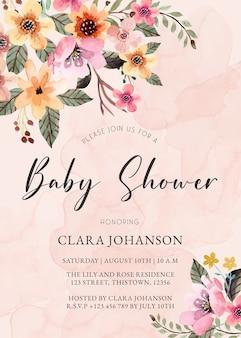 Zaproszenie na baby shower różowy kremowy kwiatowy akwarela