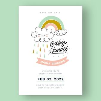 Zaproszenie na baby shower ze zdjęciem chuva de amor