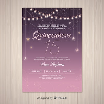 Zaproszenie na gwiaździste zaproszenie quinceañera