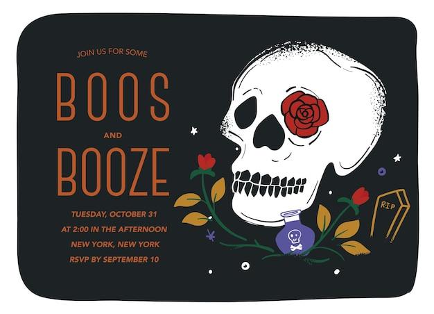 Zaproszenie na halloween boos and booze