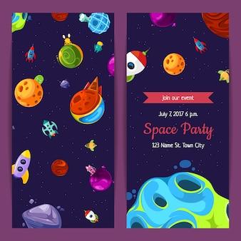 Zaproszenie na imprezę z elementami kosmicznymi, planetami i statkami