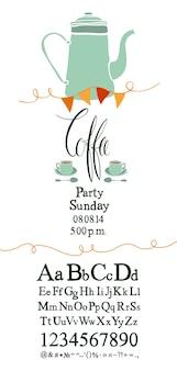 Zaproszenie na kawę party z zestawem czcionek