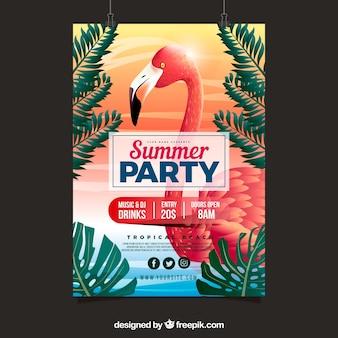 Zaproszenie na lato z flamingo w realistycznym stylu
