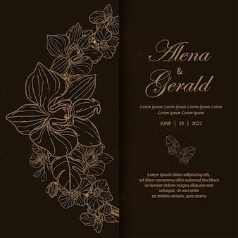 Zaproszenie na luksusową złotą kartę ślubną w twardej oprawie