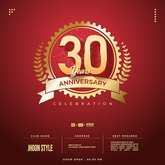 Zaproszenie na obchody 30-lecia z cyframi i symbolami