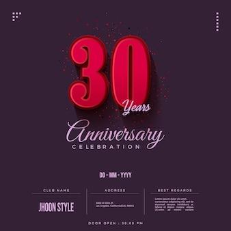 Zaproszenie na obchody 30-lecia z czerwonymi cyframi