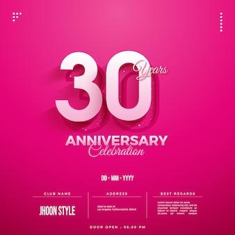 Zaproszenie na obchody 30-lecia z różowym tłem