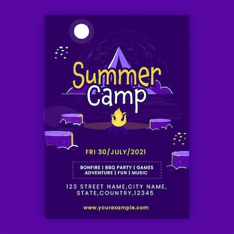 Zaproszenie na obóz letni, projekt plakatu ze szczegółami miejsca w kolorze fioletowym.