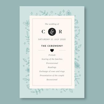 Zaproszenie na program ślubny z roślinami liniowymi