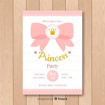 Zaproszenie na przyjęcie księżniczki płaskie