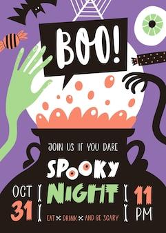 Zaproszenie na przyjęcie na halloween z odręcznym tekstem i tradycyjnymi symbolami
