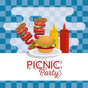 Zaproszenie na przyjęcie piknikowe zestaw ikon
