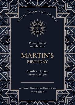 Zaproszenie na przyjęcie urodzinowe wektor w złotym stylu art deco