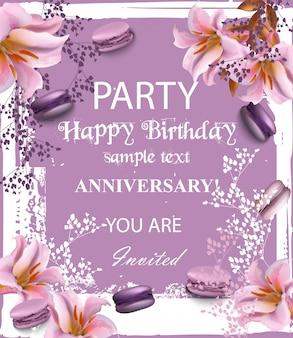Zaproszenie na przyjęcie urodzinowe z kwiatów i macaroons