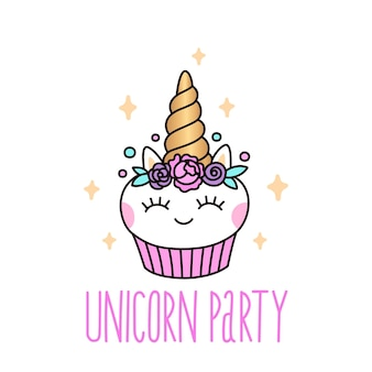 Zaproszenie na przyjęcie urodzinowe z uroczą babeczką jednorożca