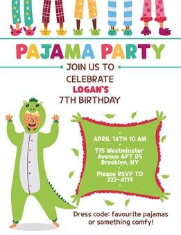 Zaproszenie na przyjęcie w piżamie dla dzieci kigurumi dinosaur