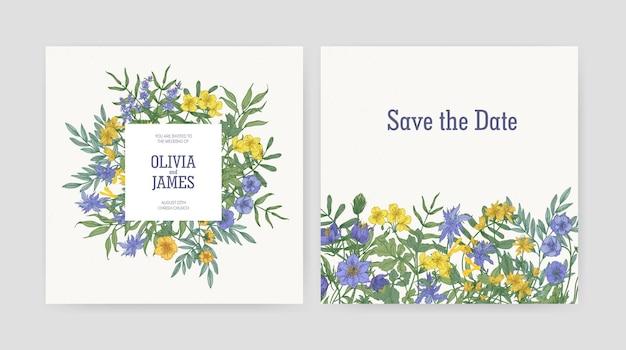 """Zaproszenie na przyjęcie weselne i szablony kart """"zapisz datę"""" ozdobione pięknymi żółtymi i fioletowymi kwitnącymi dzikimi kwiatami i kwitnącymi ziołami na białym tle."""
