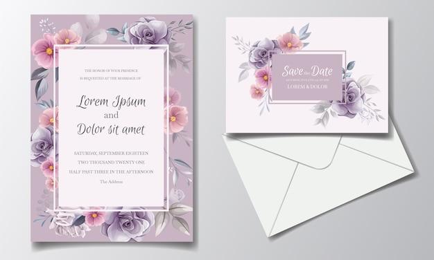 Zaproszenie na romantyczne wesele z piękną akwarelą kwiatu róży i kosmosu