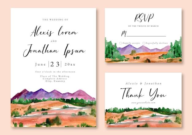 Zaproszenie na ślub akwarela krajobraz górski i zwrotnikowy