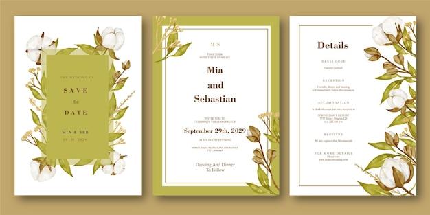 Zaproszenie na ślub akwarela kwiat bawełny