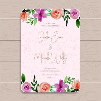 Zaproszenie na ślub akwarela kwiat