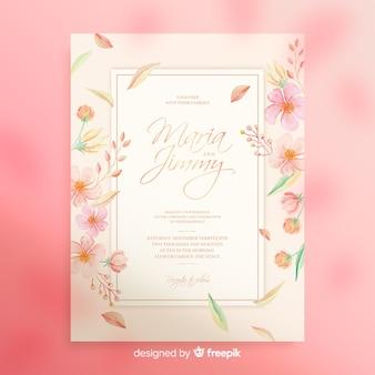 Zaproszenie na ślub akwarela kwiatowy