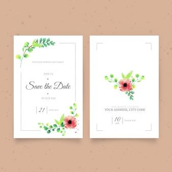 Zaproszenie na ślub akwarela ładny