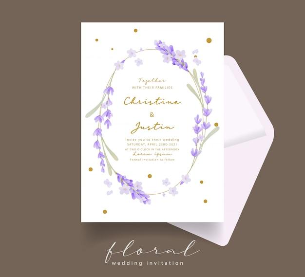 Zaproszenie na ślub akwarela lawendy