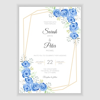 Zaproszenie na ślub akwarela niebieska róża kwiatowy
