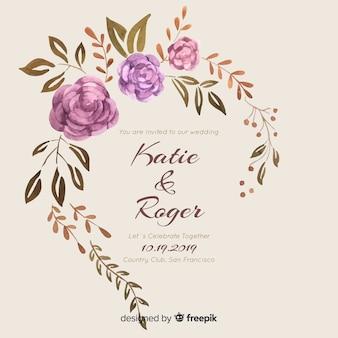 Zaproszenie na ślub akwarela ramki kwiatowy