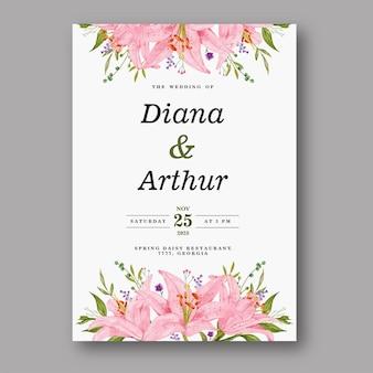 Zaproszenie na ślub akwarela różowy lilia