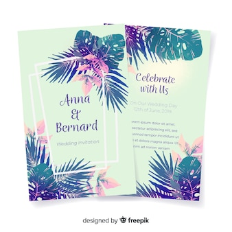 Zaproszenie na ślub akwarela tropikalne kwiaty