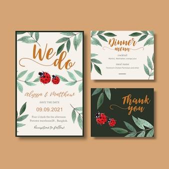 Zaproszenie na ślub akwarela z kontrastowymi liśćmi.