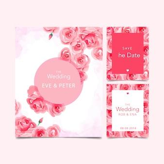Zaproszenie na ślub akwarela z kwiatami