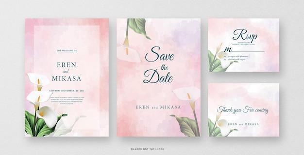 Zaproszenie na ślub akwarela z pięknym kwiatem lilii