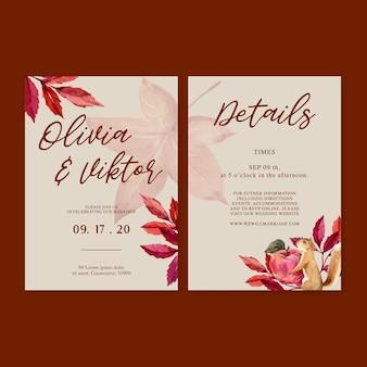 Zaproszenie na ślub akwarela z prostym motywem jesiennym