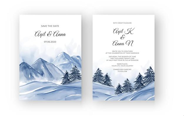 Zaproszenie na ślub akwarela z zimowym krajobrazem górskim