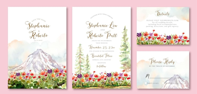 Zaproszenie na ślub akwarelowe z kwiatowym polem i lodową górą
